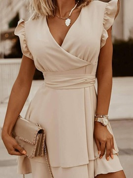 Ericdress Lace-Up V-Neck Short Sleeve Plain Pullover Bodycon Dress