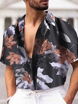 Ericdress Floral Lapel Button Single-Breasted Men's Shirt