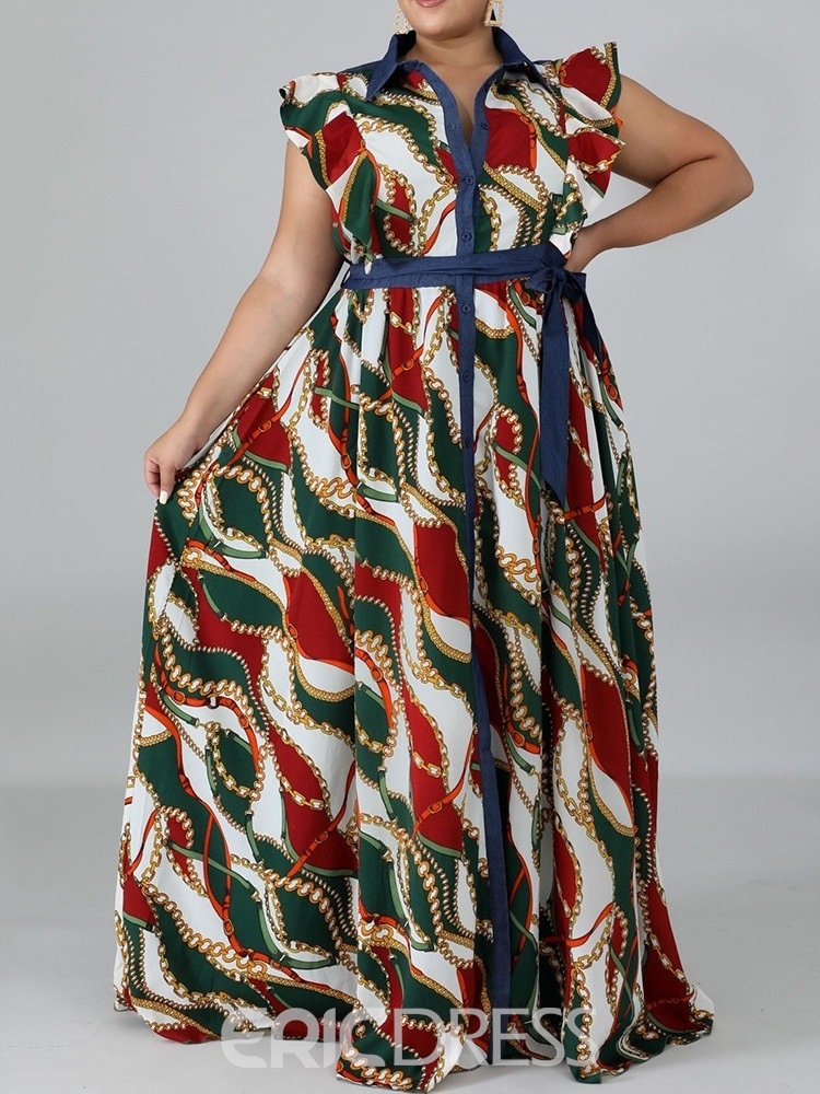 Ericdress Short Sleeve Floor-Length Lace-Up Western Single-Breasted Maxi Dress Plus Size