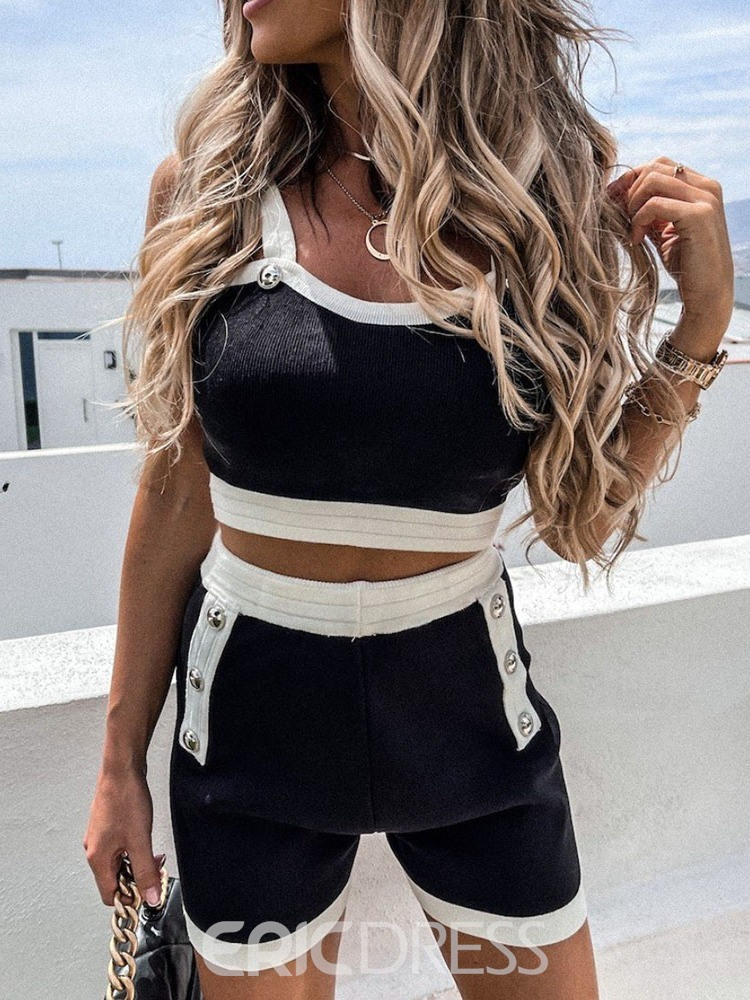 Ericdress Shorts Office Lady Pullover Straight Two Piece Sets Shorts Set