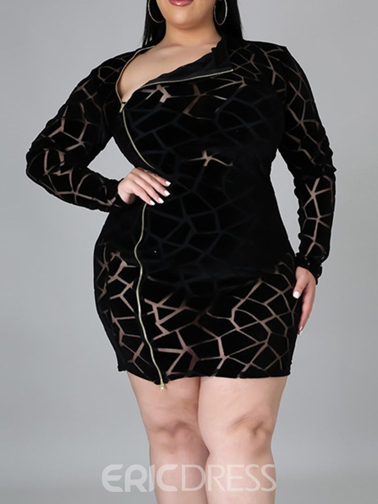 Ericdress Long Sleeve See-Through Above Knee Sexy Regular Bodycon Dress Plus Size