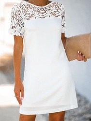 Ericdress Round Neck Above Knee Hollow Hollow White Dress