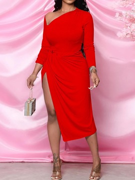 Ericdress Pleated Mid-Calf Nine Points Sleeve Fashion Pullover Bodycon Dress