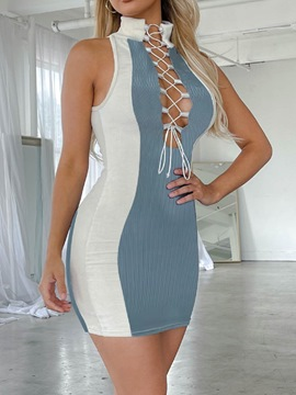 Ericdress Above Knee Sleeveless Lace-Up Color Block Bodycon Dress