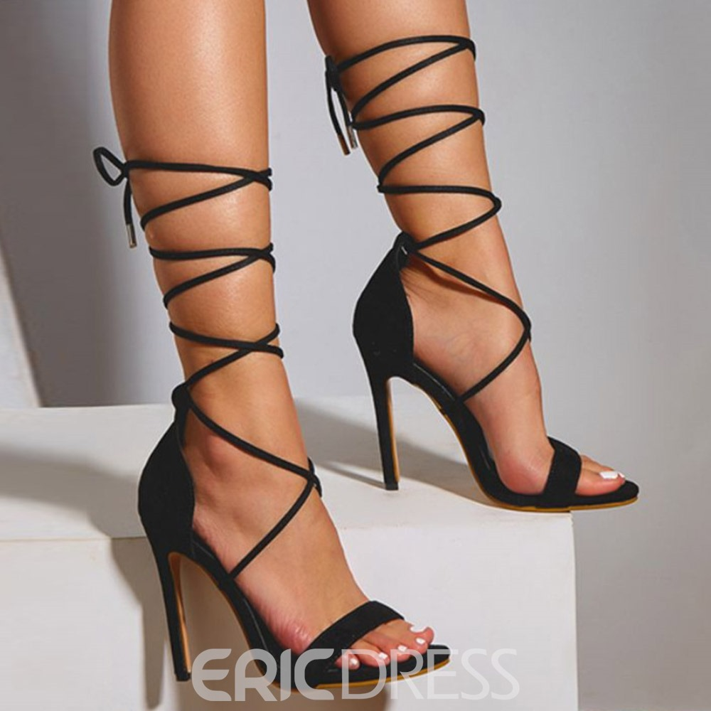 Ericdress Stiletto Heel Lace-Up Open Toe Lace-Up Women's Sandals
