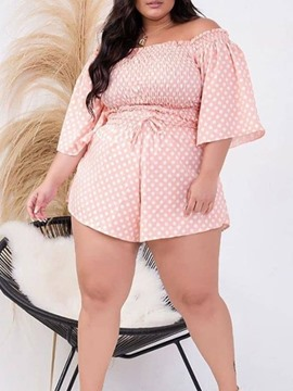 Ericdress Polka Dots Shorts Casual Pullover Two Piece Sets Women's Shorts Set Plus Size