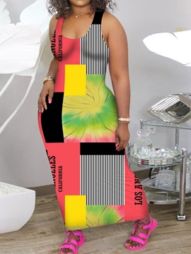 Ericdress Patchwork Sleeveless Ankle-Length Casual Color Block Bodycon Dress Plus Size