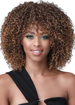 Ericdress African American Women's Medium Hairstyles Kinky Curly Synthetic Hair Capless Wigs 16Inch