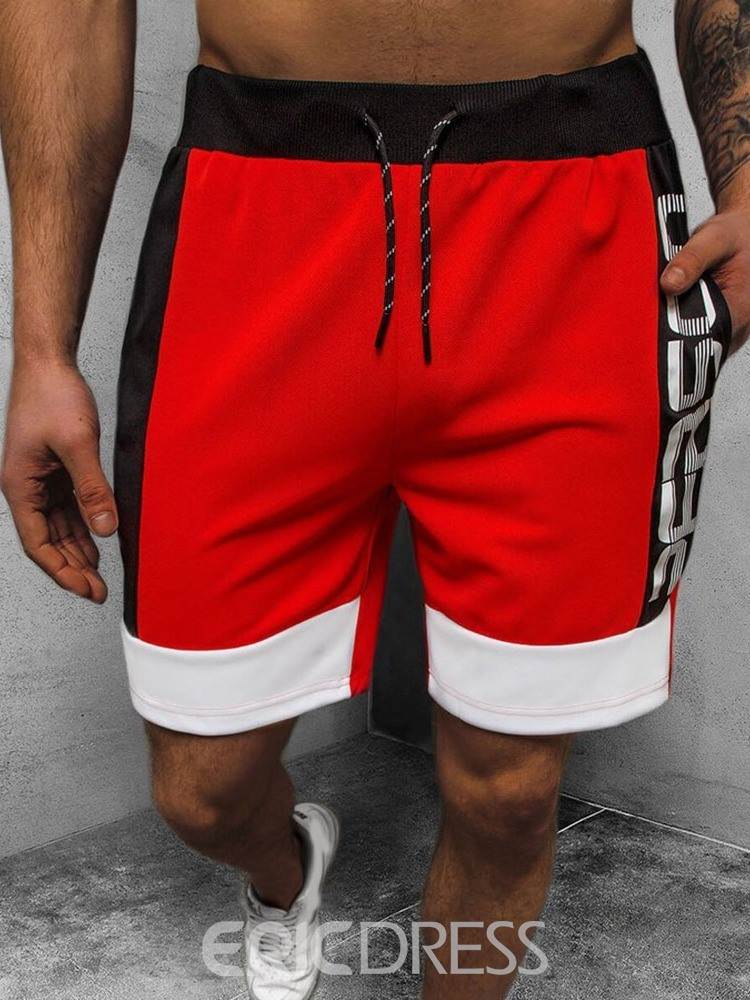 Ericdress Color Block Lace-Up Straight Lace-Up Men's Casual Pants