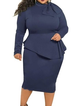 ericdress col roulé manches longues mi-mollet pull moulante robe grande taille