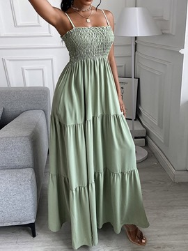 Ericdress Pleated Sleeveless Square Neck Expansion Maxi Dress