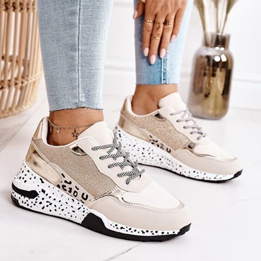 Ericdress Lace-Up Round Toe Cross Strap PU Women's Sneakers