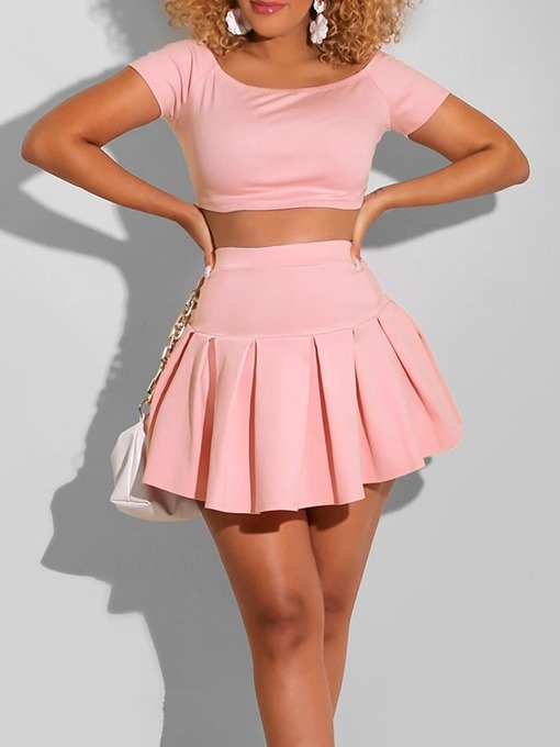 Ericdress Plain Pleated Sexy Pullover Two Piece Sets Women's Skirt Set