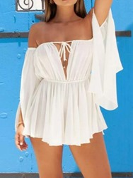 Ericdress Long Sleeve Backless Off Shoulder A-Line Pullover White Dress