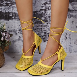 Ericdress Square Toe Lace-Up Stiletto Heel Professional Women's Thin Shoes