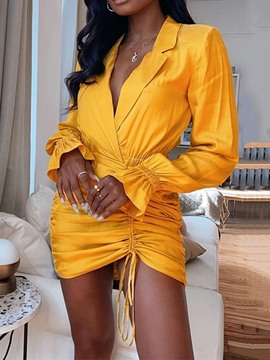 Ericdress Notched Lapel Above Knee Lace-Up Pullover Sexy Bodycon Dress