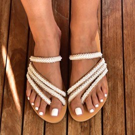 Ericdress Thong Flat With Beads Rubber Women's Slippers