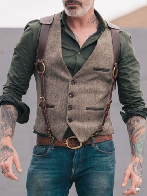 Ericdress Button Formal Single-Breasted Men's Waistcoat