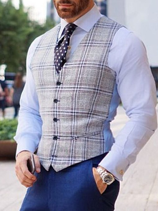Ericdress Plaid Button Formal Single-Breasted Men's Waistcoat