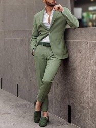 Ericdress Plain Slim Fitted Casual Tuxedo Green Mens Suit