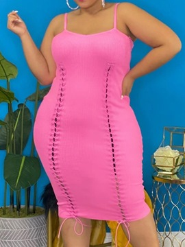 Ericdress Mid-Calf Lace-Up Sleeveless Bodycon Dress Plus Size