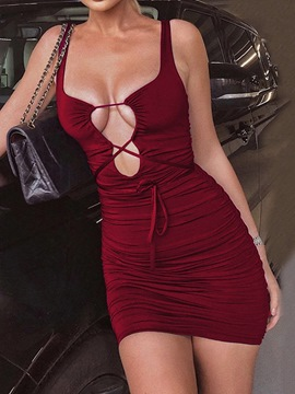 Ericdress Sleeveless Lace-Up Above Knee Color Block Bodycon Dress
