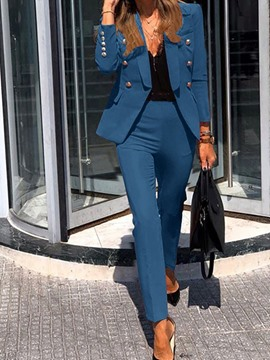 Ericdress Formal Plain Pants Single-Breasted Two Piece Sets Women's Suits