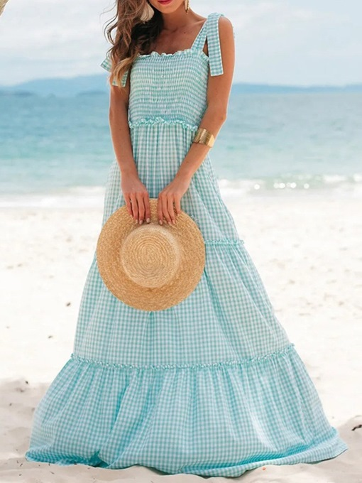 Ericdress Patchwork Floor-Length Square Neck Expansion Sweet Maxi Dress
