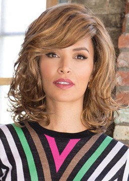 Ericdress Women's Medium Hairstyle Lovely Wavy Synthetic Hair Wigs With Bangs Capless Wigs 16Inch