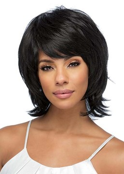 Ericdress Women's Short Layered Hairstyles Wavy Human Hair Wigs With Bangs Capless Wigs 12Inch