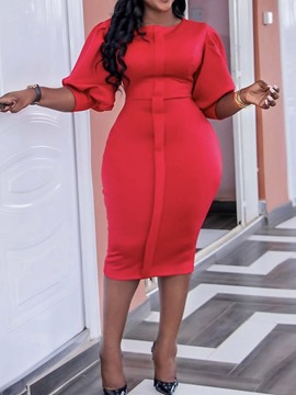 Ericdress Patchwork Mid-Calf Round Neck Plain Pencil Red Bodycon Dress