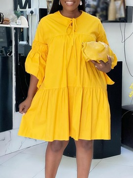 Ericdress Round Neck Knee-Length Pleated Casual Plain Dress