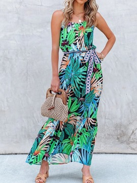 Ericdress Print Sleeveless Ankle-Length Plant Fashion Floral Maxi Dress Beach Dresses For Women