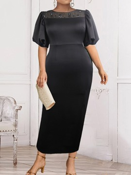Ericdress Ankle-Length Half Sleeve Patchwork Pullover Black Bodycon Dress Plus Size