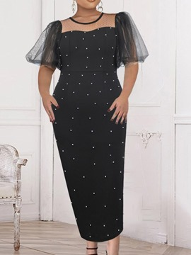 Ericdress Short Sleeve Ankle-Length Mesh Formal Pullover Bodycon Dress Plus Size