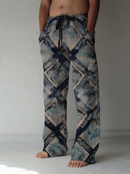 Ericdress Straight Print Lace-Up Full LengthMen's Gray Blue Casual Pants