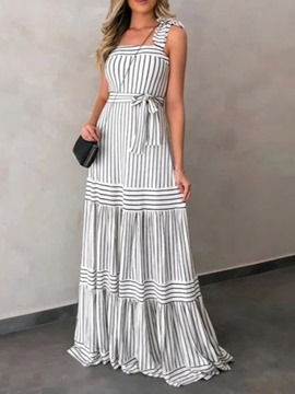 Ericdress Floor-Length Square Neck Sleeveless Pullover Expansion Maxi Dress