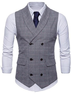 Ericdress Notched Lapel Pocket Plaid Double-Breasted Men's Waistcoat