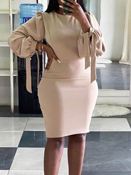 Ericdress Knee-Length Lace-Up Long Sleeve Bodycon Office Lady Dress