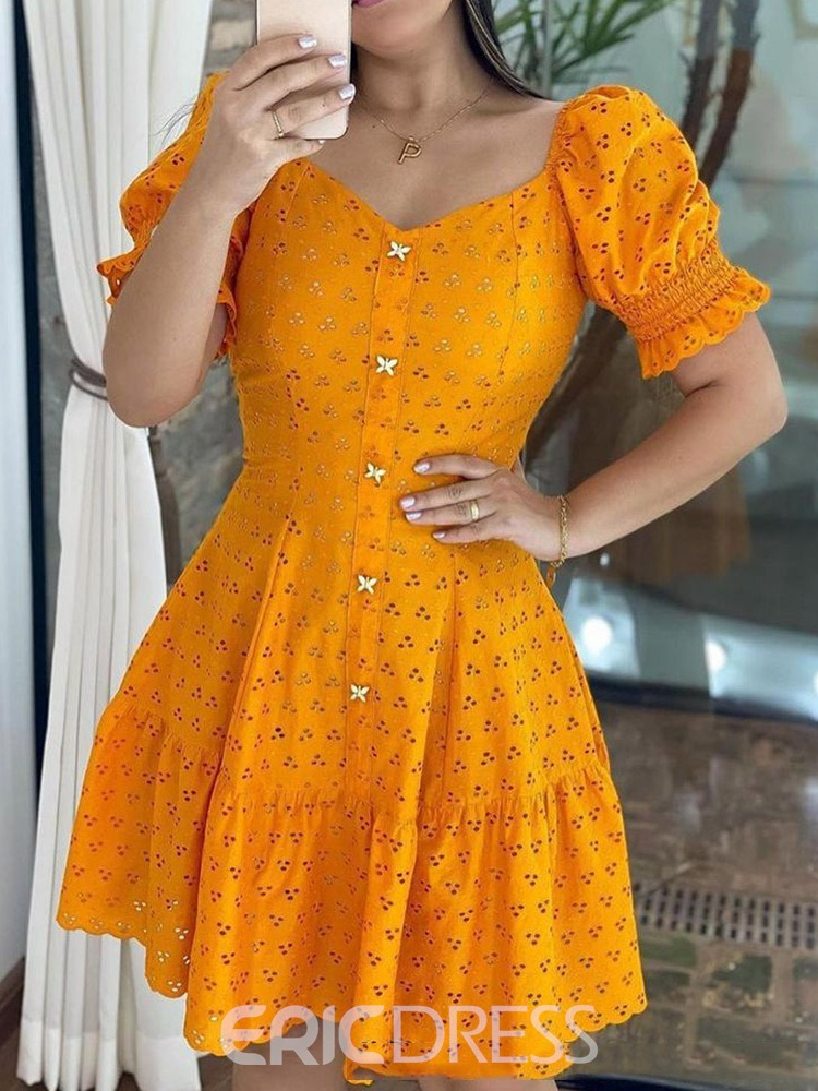 Ericdress Above Knee V-Neck Hollow Pullover Fashion Dress