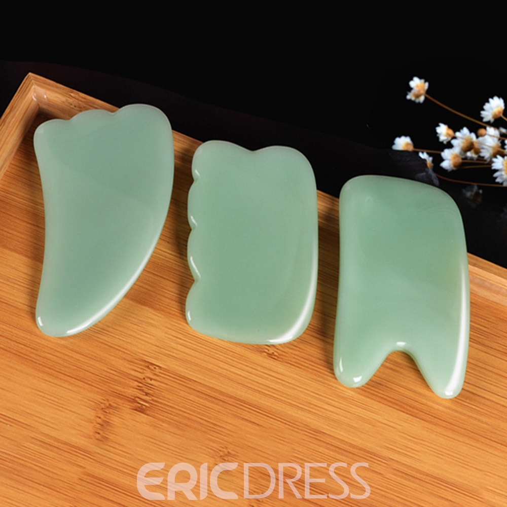 Gua Sha Scraping Massage Tool - Hand Made Jade Guasha Board - Great Tools for SPA Acupuncture Therapy Trigger Point Treatment on Face