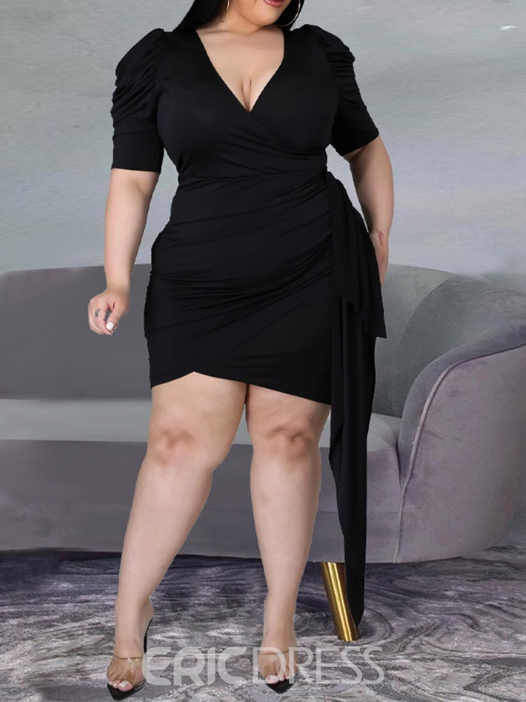 Ericdress V-Neck Above Knee Patchwork Bodycon Dress Plus Size