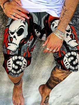 Ericdress Straight Print Skull Lace-Up Men's Casual Pants
