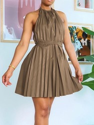 Ericdress Sleeveless Above Knee Backless Pleated Pullover Dress