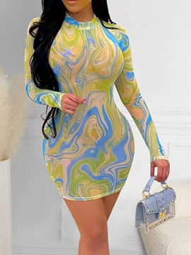 Ericdress Patchwork Stand Collar Long Sleeve Bodycon Color Block Dress