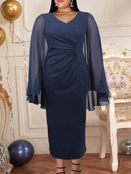 Ericdress Long Sleeve V-Neck Ankle-Length Bodycon Pullover Dress Plus Size