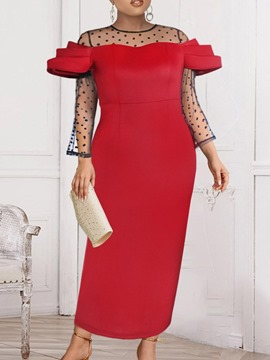 Ericdress Ankle-Length Round Neck Nine Points Sleeve Polka Dots Pullover Bodycon Dress Plus Size