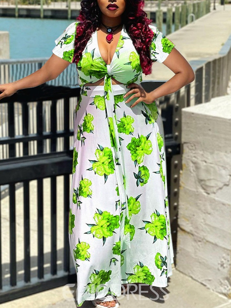 Ericdress Short Sleeve Ankle-Length Print Floral Pullover Maxi Dress Plus Size
