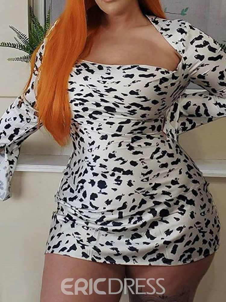 Ericdress Long Sleeve Patchwork Above Knee Color Block Bodycon Dress Plus Size
