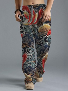 Ericdress Floral Print Straight Summer Casual Men's Pants